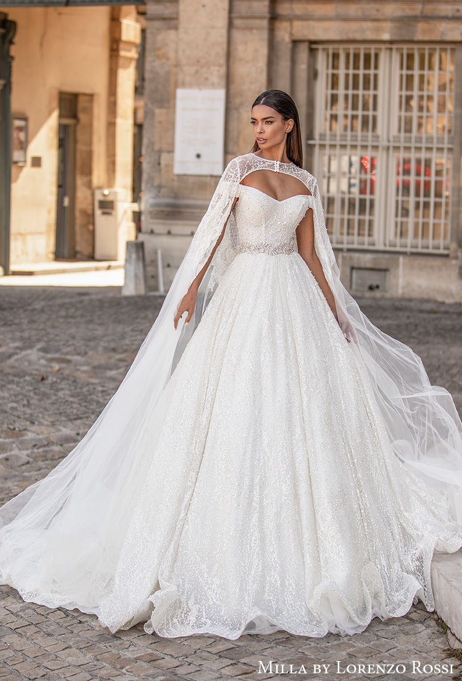 milla lorenzo rossi 2021 bridal off the shoulder sweetheart neckline full embellishment glitter princess a  line wedding dress cape chapel train (roxana) mv
