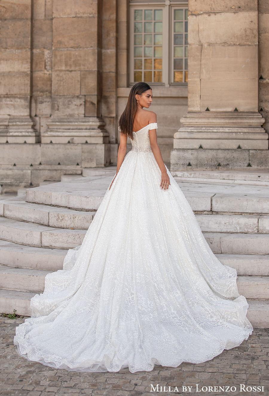 milla lorenzo rossi 2021 bridal off the shoulder sweetheart neckline full embellishment glitter princess a  line wedding dress chapel train (roxana) bv