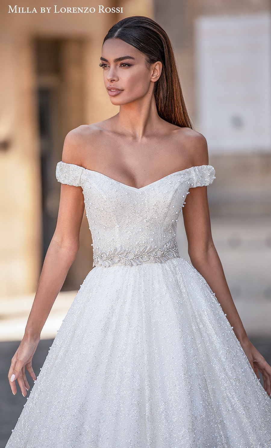 milla lorenzo rossi 2021 bridal off the shoulder sweetheart neckline full embellishment glitter princess a  line wedding dress chapel train (roxana) zv
