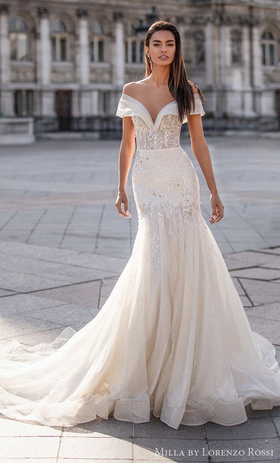 milla lorenzo rossi 2021 bridal off the shoulder sweetheart neckline heavily embellished bodice glamorous drop waist a  line wedding dress chapel train (arielle) mv