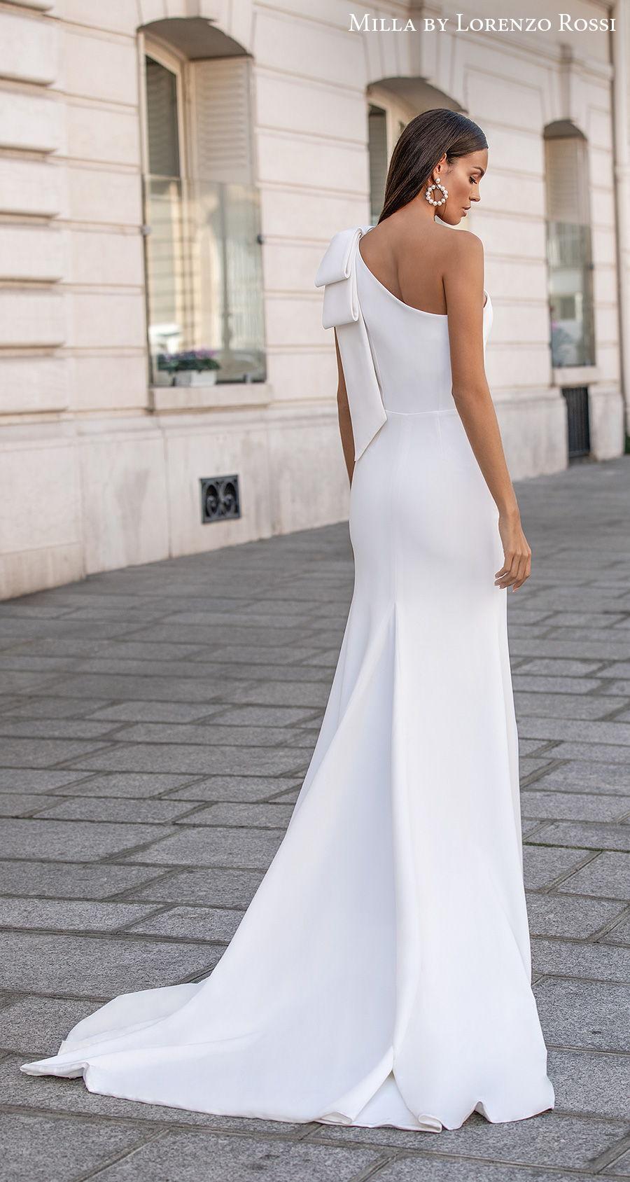 milla lorenzo rossi 2021 bridal one shoulder ribbon strap simple minimalist elegant fit and flare wedding dress medium train (amandine) bv