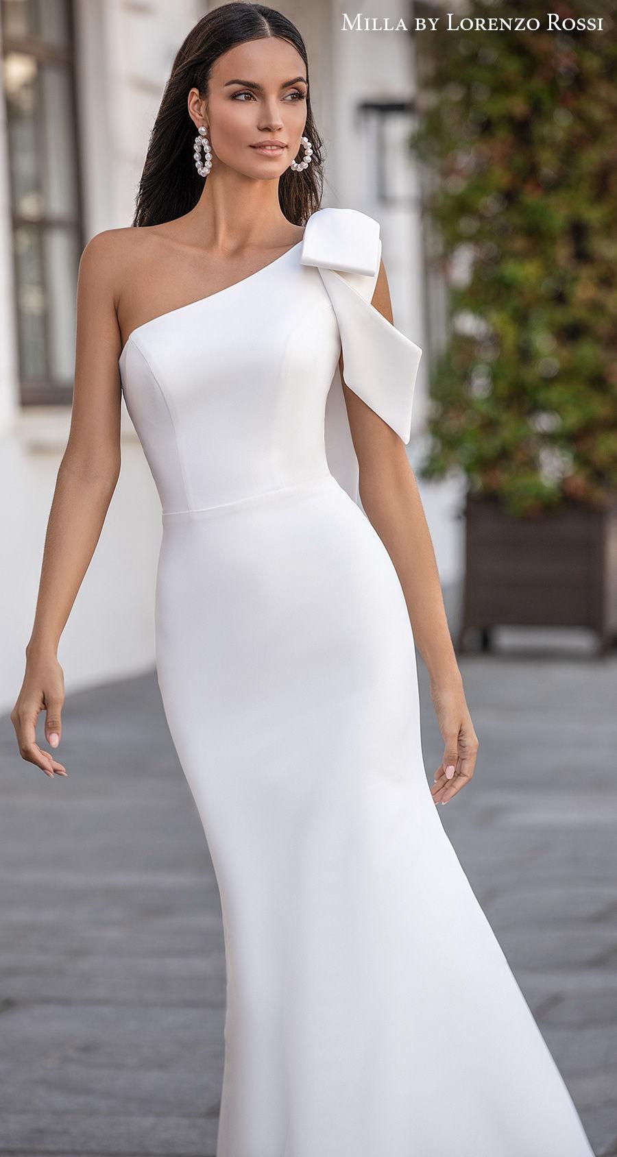 milla lorenzo rossi 2021 bridal one shoulder ribbon strap simple minimalist elegant fit and flare wedding dress medium train (amandine) mv