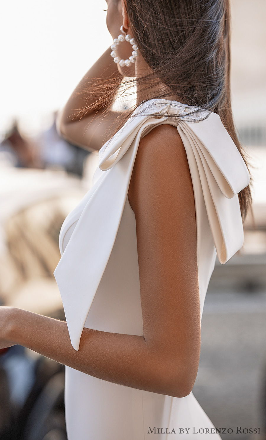 milla lorenzo rossi 2021 bridal one shoulder ribbon strap simple minimalist elegant fit and flare wedding dress medium train (amandine) zsdv