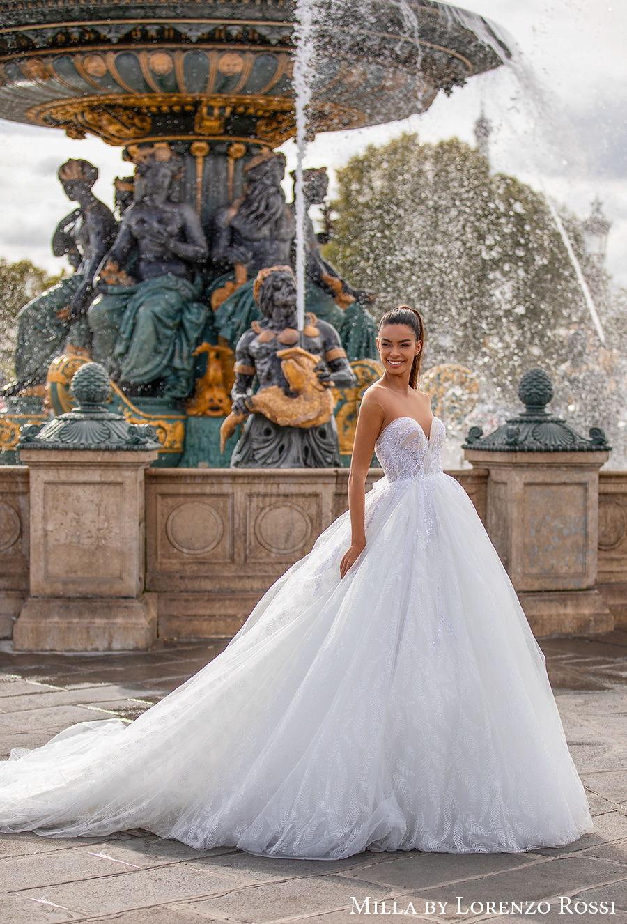 milla lorenzo rossi 2021 bridal sheer bateau sweetheart neckline heavily embellished bodice romantic princess ball gown a  line wedding dress rasor sheer button back royal train (adalaide) mv