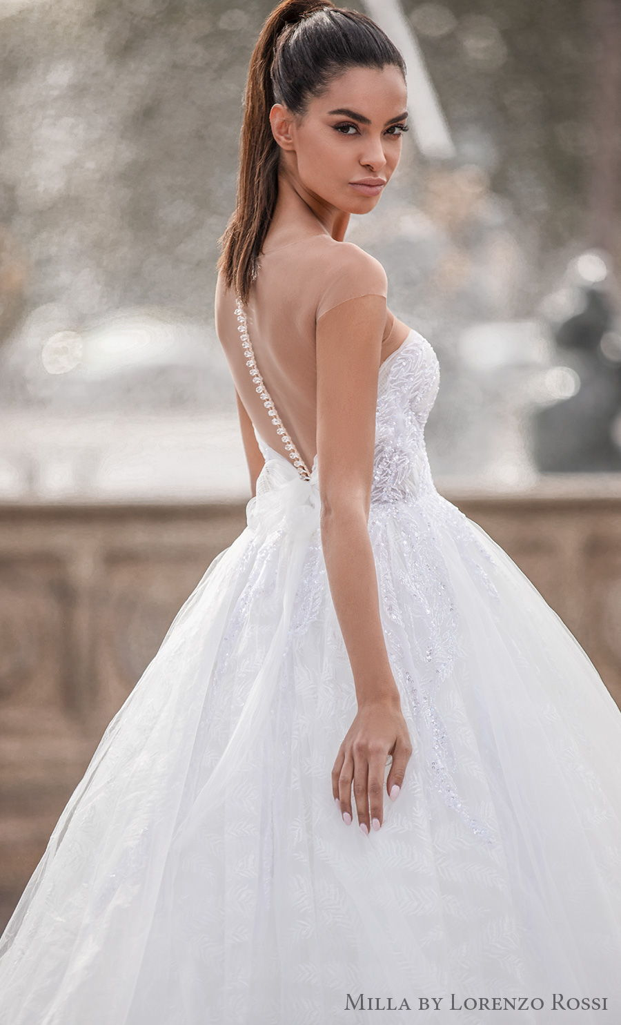 milla lorenzo rossi 2021 bridal sheer bateau sweetheart neckline heavily embellished bodice romantic princess ball gown a  line wedding dress rasor sheer button back royal train (adalaide) zbv