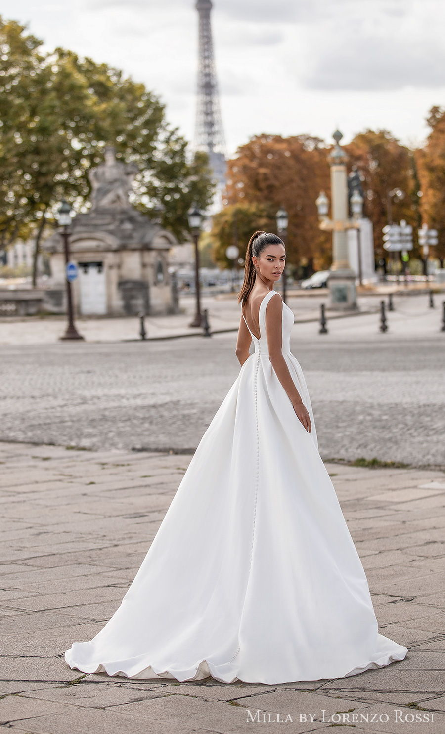 milla lorenzo rossi 2021 bridal sleeveless bateau neckline simple minimalist elegant princess a  line wedding dress backless sweep train (travis) bv