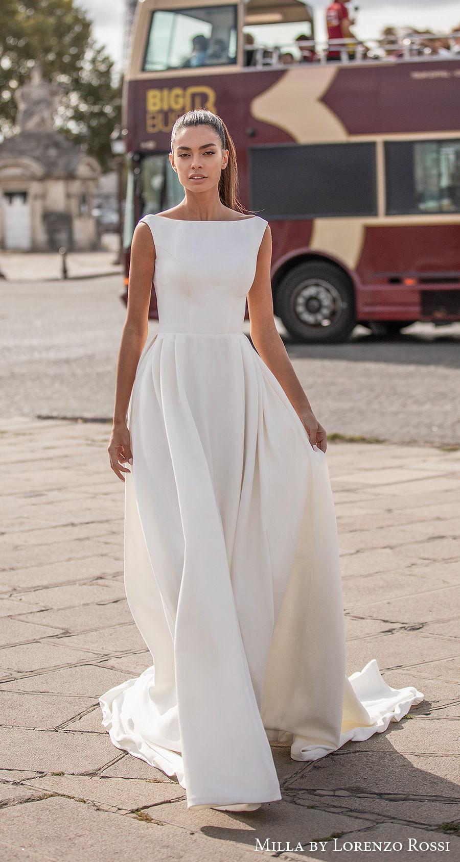 milla lorenzo rossi 2021 bridal sleeveless bateau neckline simple minimalist elegant princess a  line wedding dress backless sweep train (travis) mv