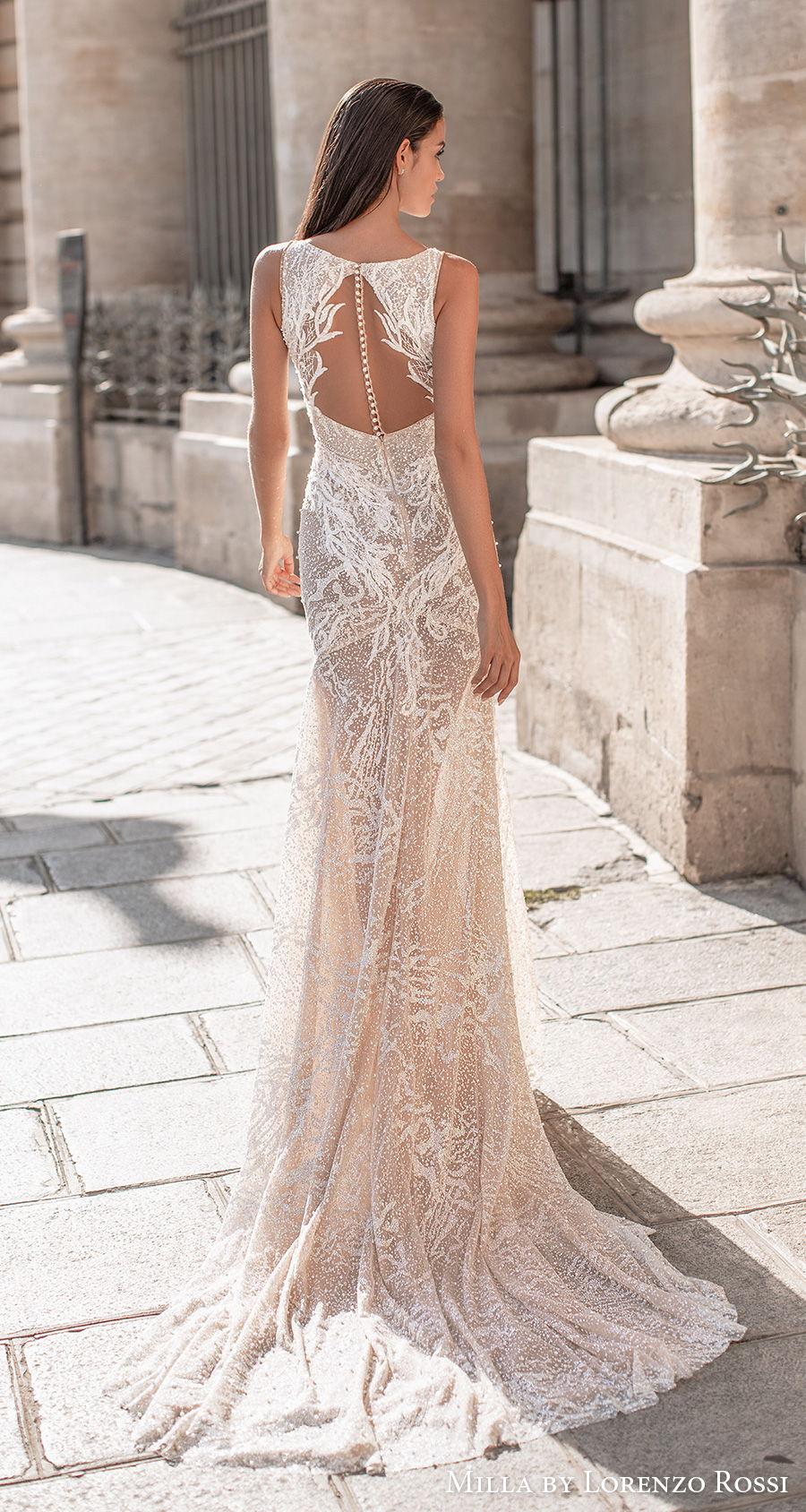 milla lorenzo rossi 2021 bridal sleeveless deep plunging v neck full embellishment sexy glamorous sheath wedding dress keyhole sheer button back medium train (skylar) bv