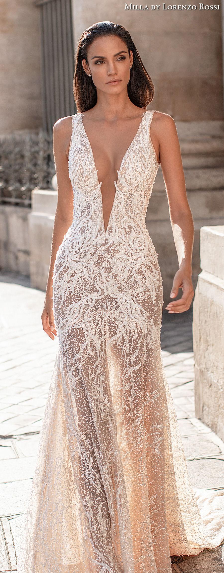 milla lorenzo rossi 2021 bridal sleeveless deep plunging v neck full embellishment sexy glamorous sheath wedding dress keyhole sheer button back medium train (skylar) lv