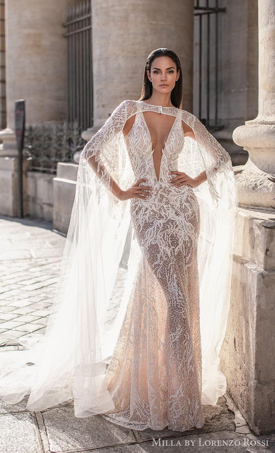 milla lorenzo rossi 2021 bridal sleeveless deep plunging v neck full embellishment sexy glamorous sheath wedding dress keyhole sheer button back medium train (skylar) mv