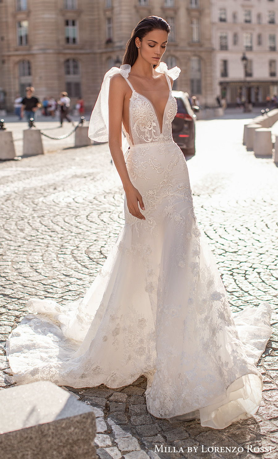 milla lorenzo rossi 2021 bridal sleeveless ribbon strap deep plunging v neck full embellishment sexy romantic mermaid wedding dress backless mermaid wedding dress royal train (fernada) mv