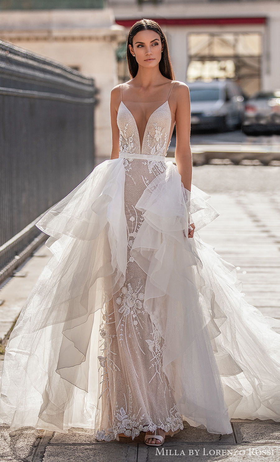 milla lorenzo rossi 2021 bridal sleeveless spaghetti strap deep plunging sweetheart neckline full embellishment romantic sheath wedding dress a  line overskirt low back sweep train (daisy) mv
