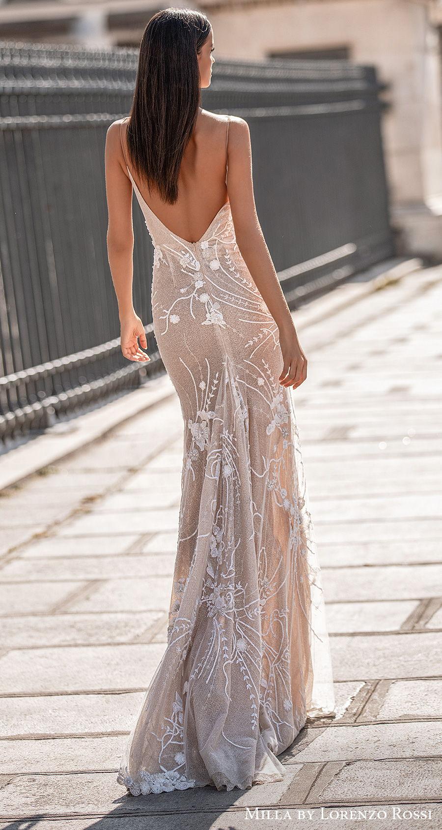 milla lorenzo rossi 2021 bridal sleeveless spaghetti strap deep plunging sweetheart neckline full embellishment sexy elegant sheath wedding dress low back sweep train (daisy) bv