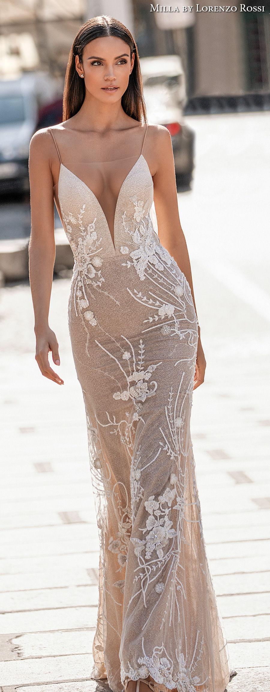 milla lorenzo rossi 2021 bridal sleeveless spaghetti strap deep plunging sweetheart neckline full embellishment sexy elegant sheath wedding dress low back sweep train (daisy) lv