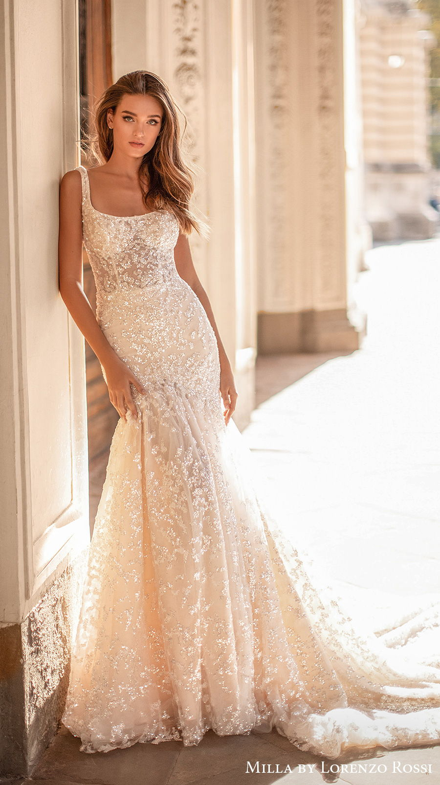milla lorenzo rossi 2021 bridal sleeveless square neckline full embellishment glitter glamorous elegant mermaid wedding dress square back chapel train (irene) mv