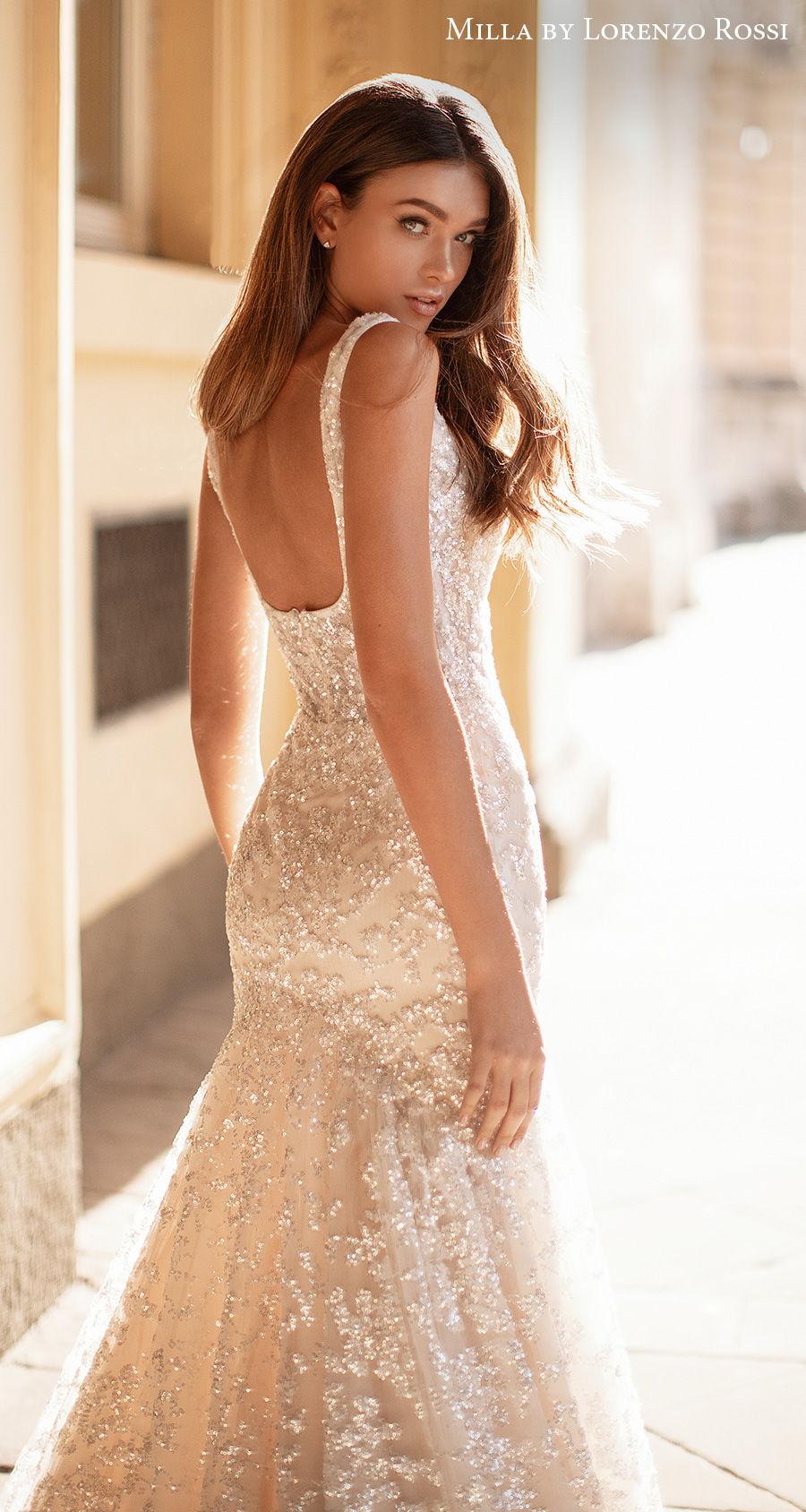 milla lorenzo rossi 2021 bridal sleeveless square neckline full embellishment glitter glamorous elegant mermaid wedding dress square back chapel train (irene) zbv