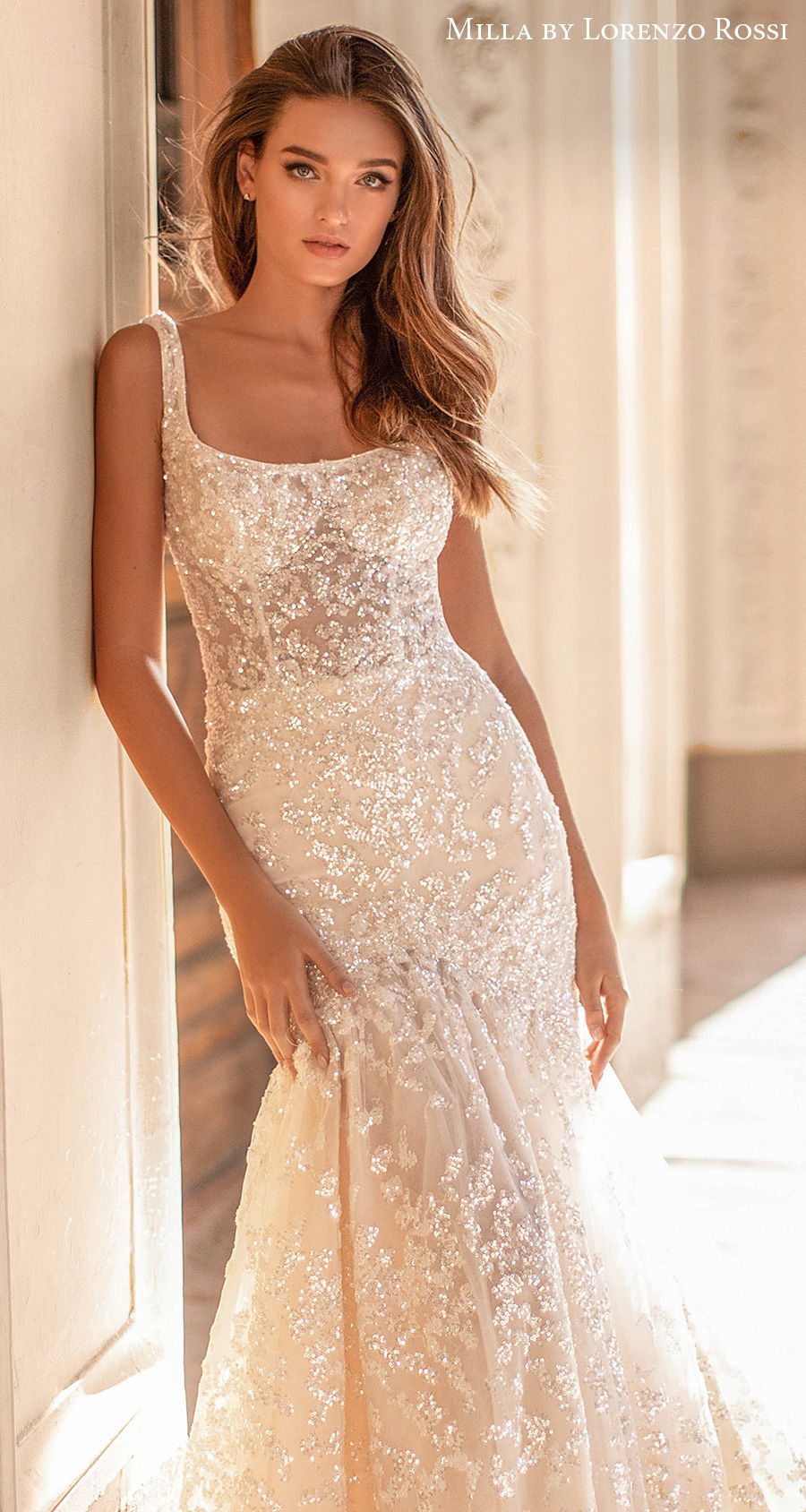 milla lorenzo rossi 2021 bridal sleeveless square neckline full embellishment glitter glamorous elegant mermaid wedding dress square back chapel train (irene) zv