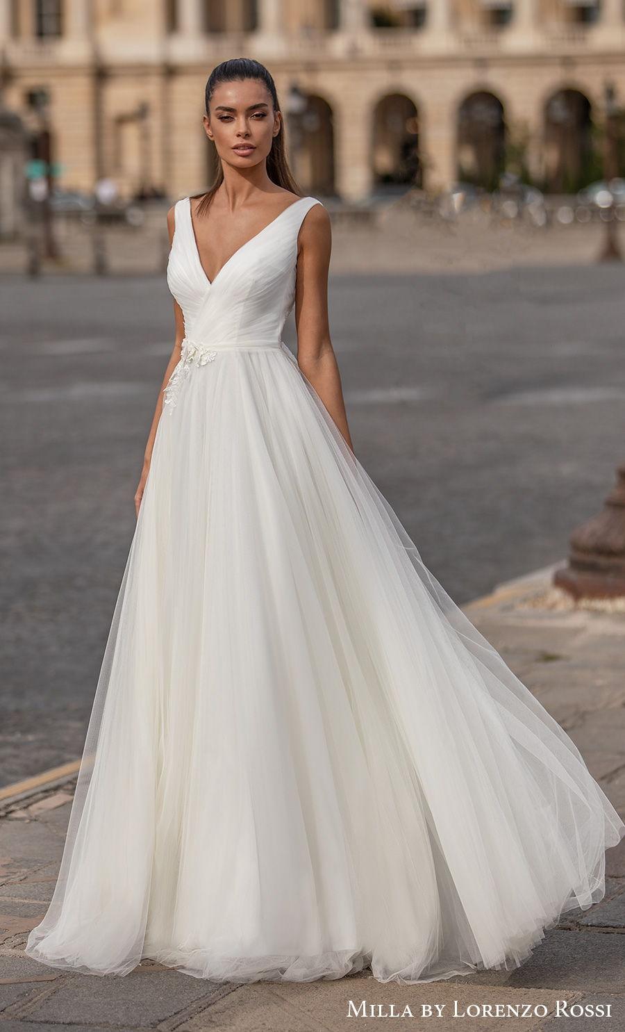milla lorenzo rossi 2021 bridal sleeveless v neck lightly embellished wrap over bodice tulle skirt romantic a  line wedding dress (charilyn) mv