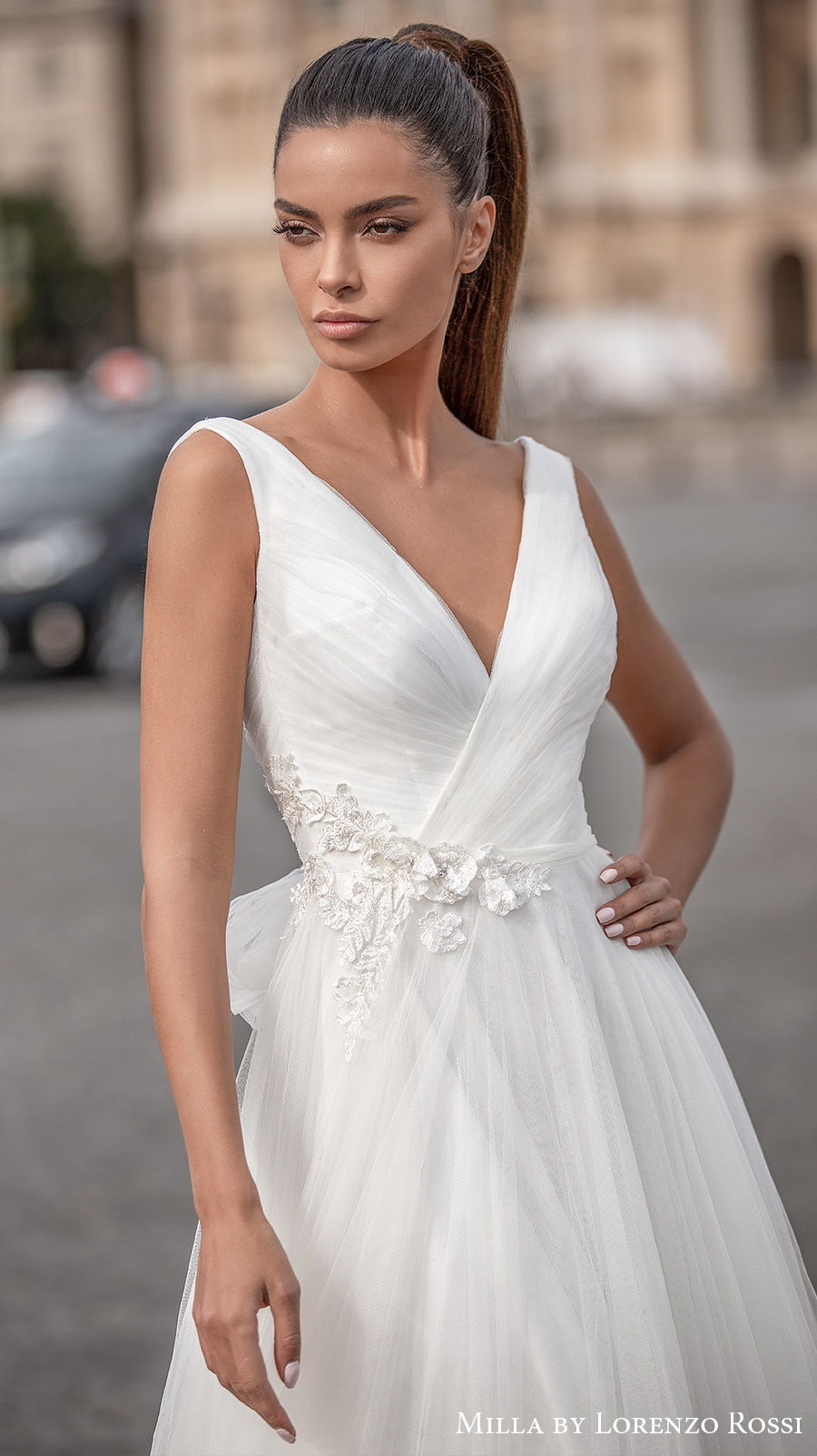 milla lorenzo rossi 2021 bridal sleeveless v neck lightly embellished wrap over bodice tulle skirt romantic a  line wedding dress (charilyn) zv