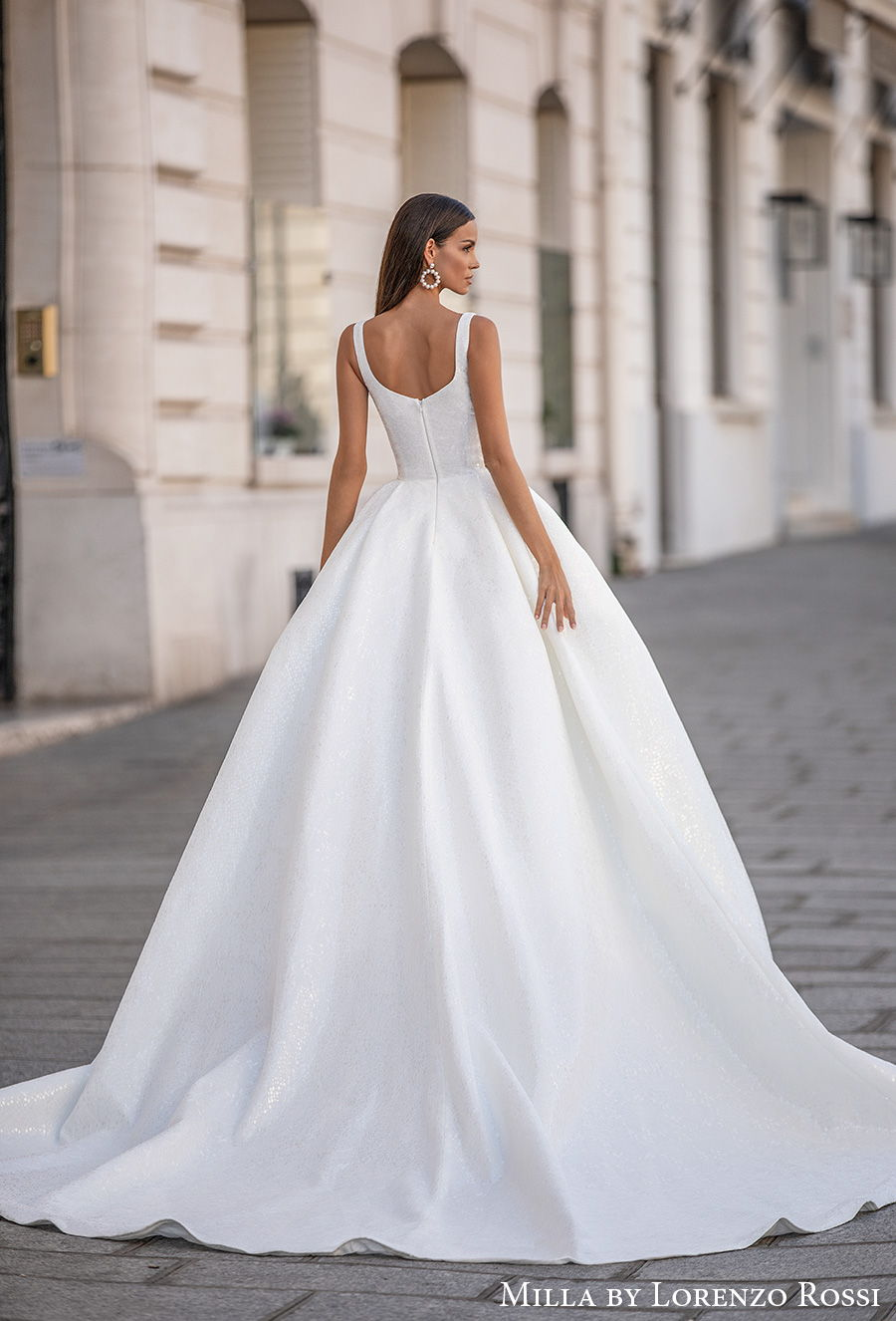 milla lorenzo rossi 2021 bridal sleeveless with strap square neckline simple minimalist elegant ball gown a  line wedding dress mid back chapel train (gabrielle) bv