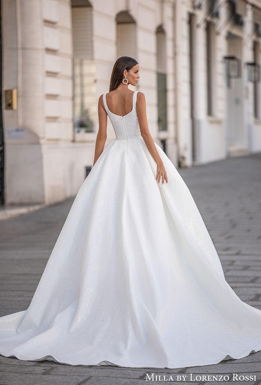 milla lorenzo rossi 2021 bridal sleeveless with strap square neckline simple minimalist elegant ball gown a  line wedding dress mid back chapel train (gabrielle) bv