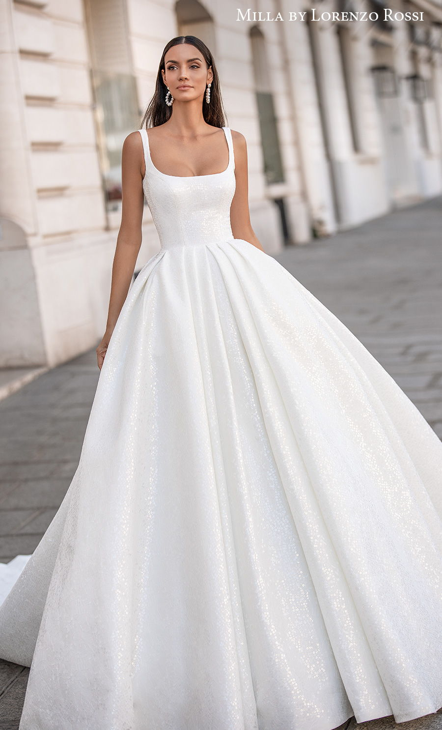milla lorenzo rossi 2021 bridal sleeveless with strap square neckline simple minimalist elegant ball gown a  line wedding dress mid back chapel train (gabrielle) mv