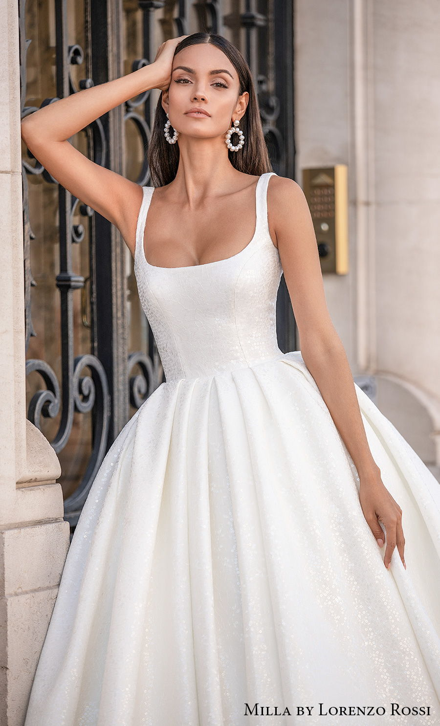 milla lorenzo rossi 2021 bridal sleeveless with strap square neckline simple minimalist elegant ball gown a line wedding dress mid back chapel train (gabrielle) zv