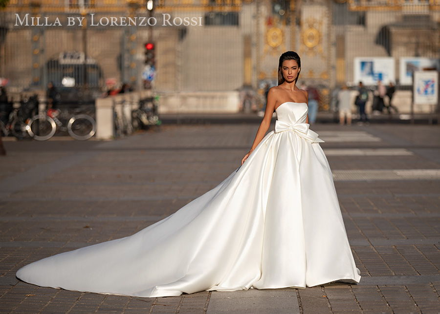 milla lorenzo rossi 2021 bridal strapless straight across neckline simple minimalist princess ball gown a  line wedding dress (georgette) mv