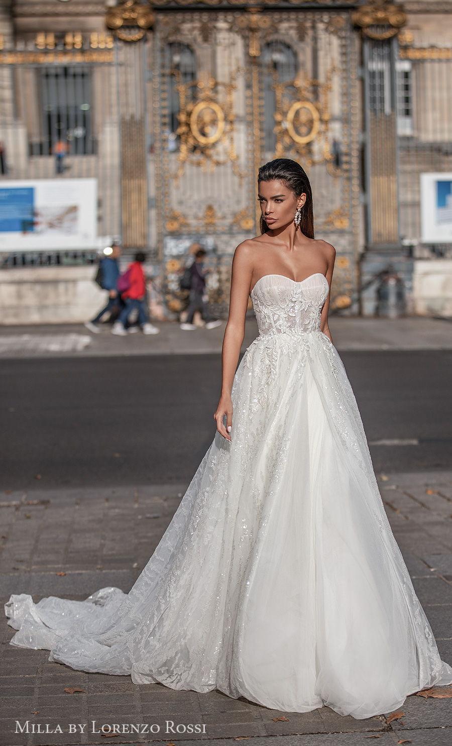 milla lorenzo rossi 2021 bridal strapless sweetheart neckline heavily embellished bodice romantic a  line wedding dress chapel train (sandra) mv
