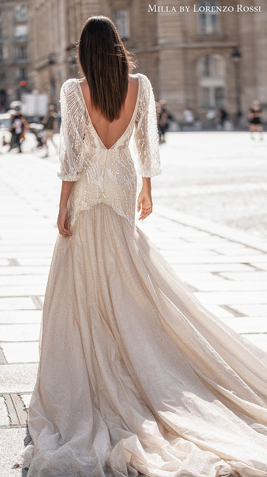 milla lorenzo rossi 2021 bridal three quarter gigot sleeves deep plunging v neck heavily embellished bodice glamorous a  line wedding dress v back chapel train (ingrid) bv