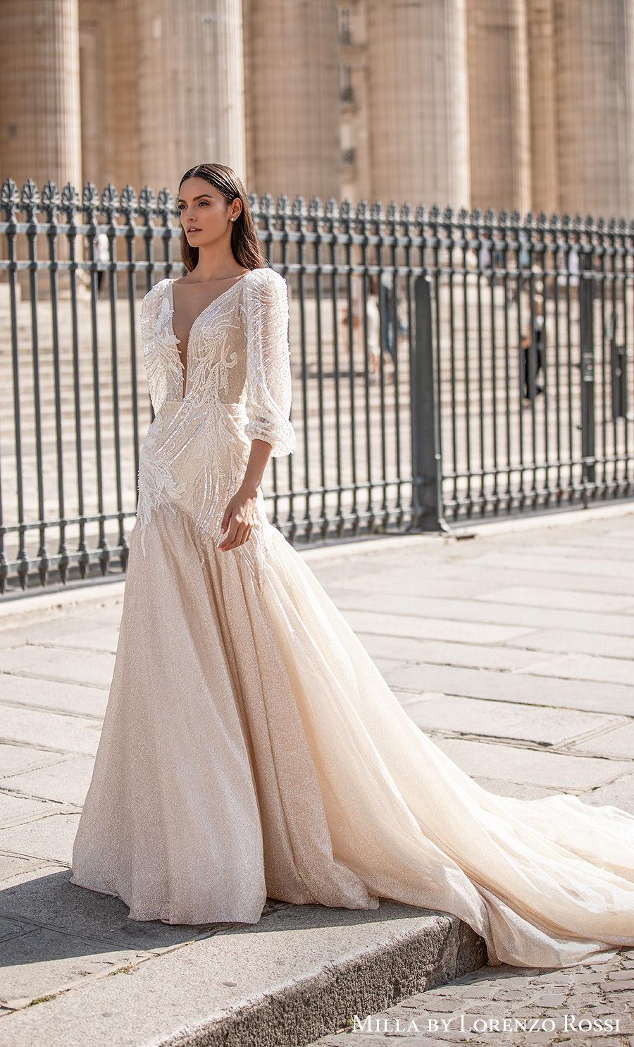 milla lorenzo rossi 2021 bridal three quarter gigot sleeves deep plunging v neck heavily embellished bodice glamorous a  line wedding dress v back chapel train (ingrid) mv
