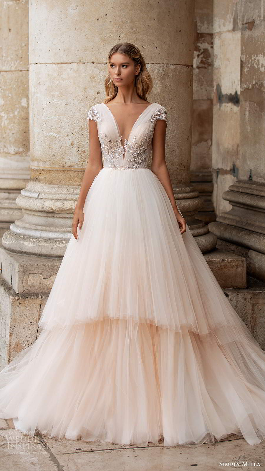 simply milla nova 2020 bridal cap sleeves plunging v neckline embellished bodice a line ball gown blush wedding dress chapel train (3) mv