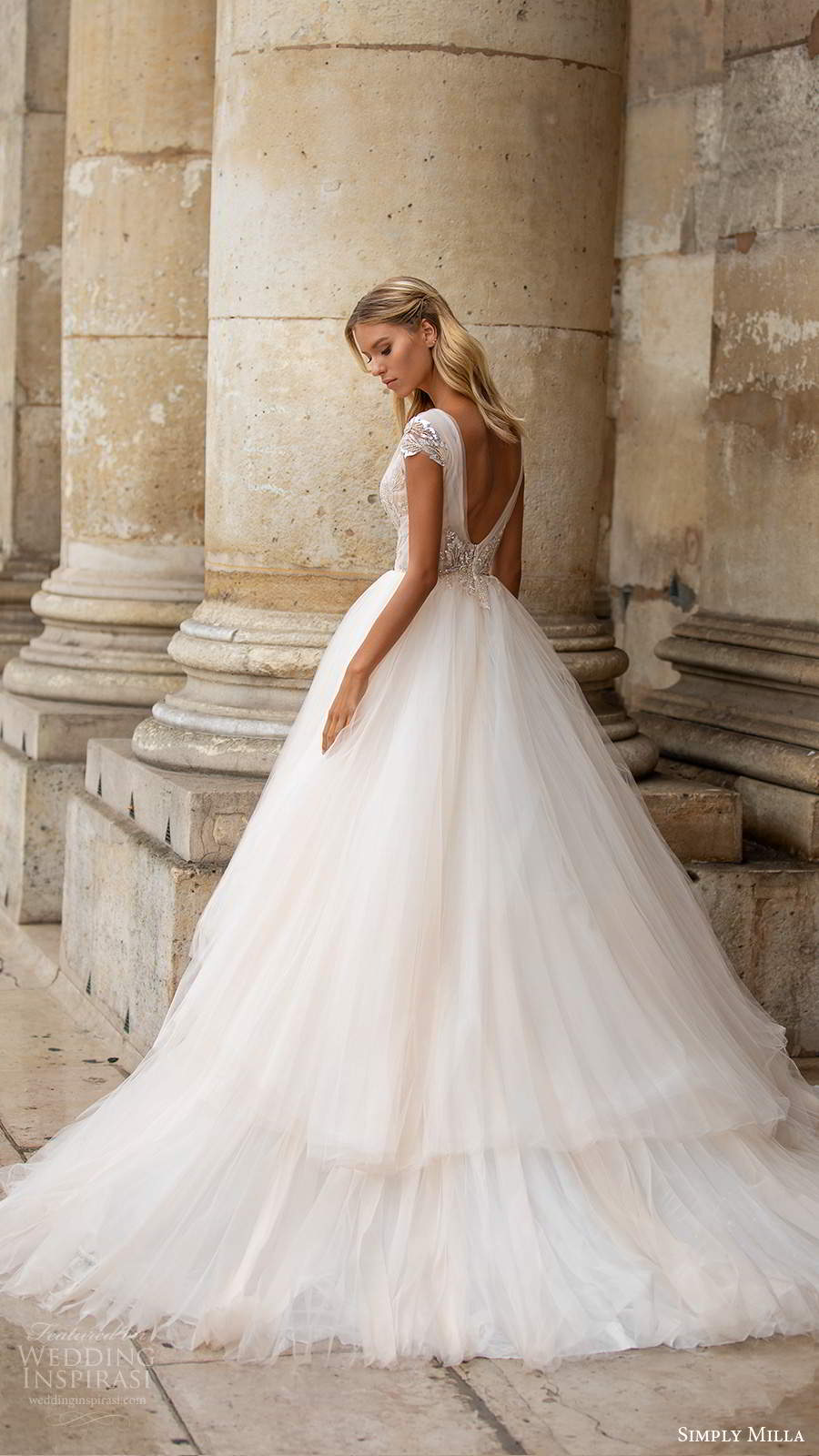 simply milla nova 2020 bridal cap sleeves plunging v neckline embellished bodice a line ball gown blush wedding dress chapel train scoop back (3) bv