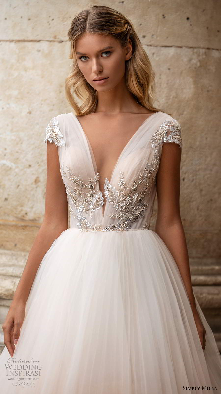 simply milla nova 2020 bridal cap sleeves plunging v neckline embellished bodice a line ball gown blush wedding dress chapel train scoop back (3) zv