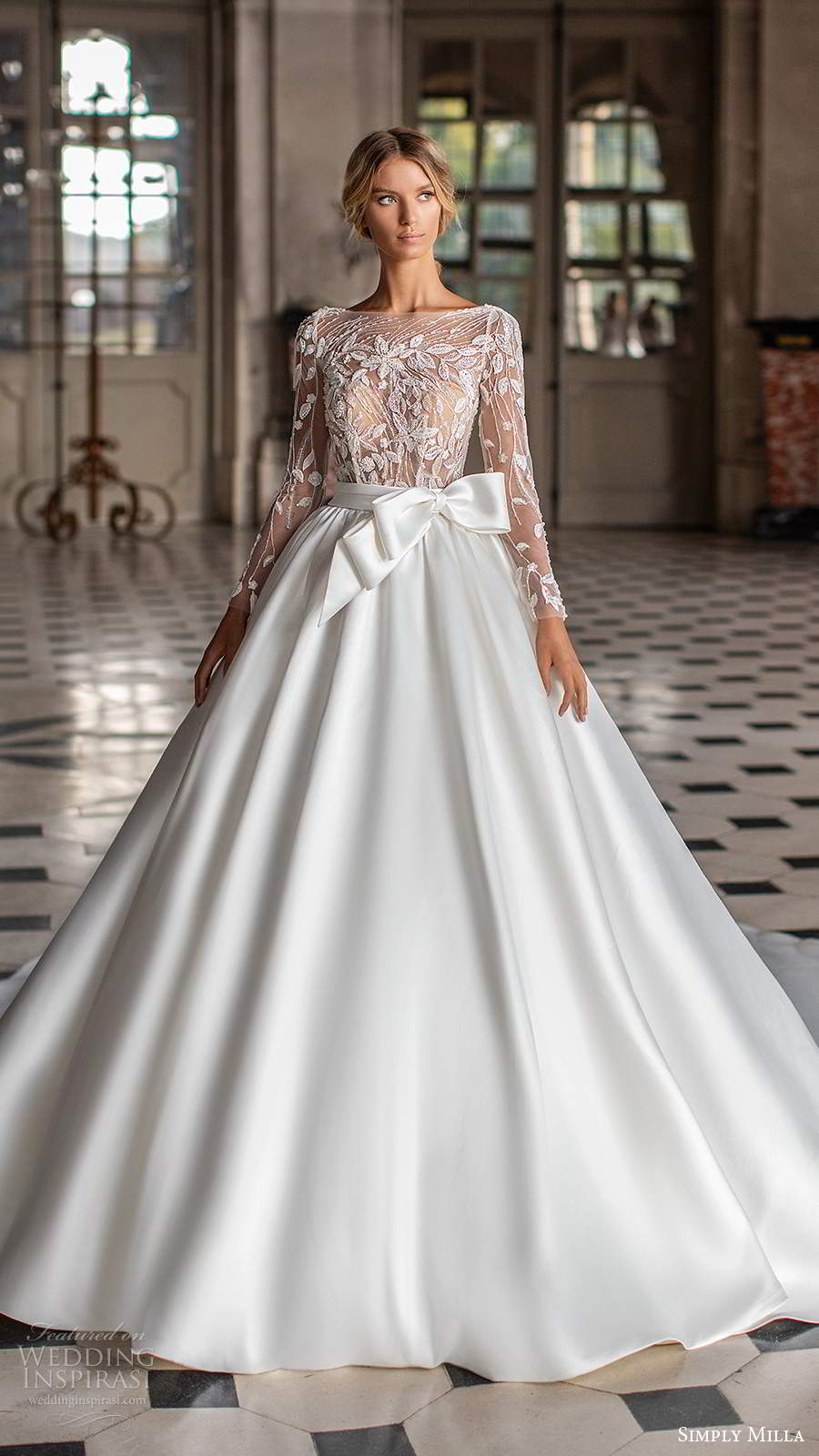 simply milla nova 2020 bridal illusion long sleeves bateau neckline embellished bodice clean skirt a line ball gown wedding dress chapel train (6) mv
