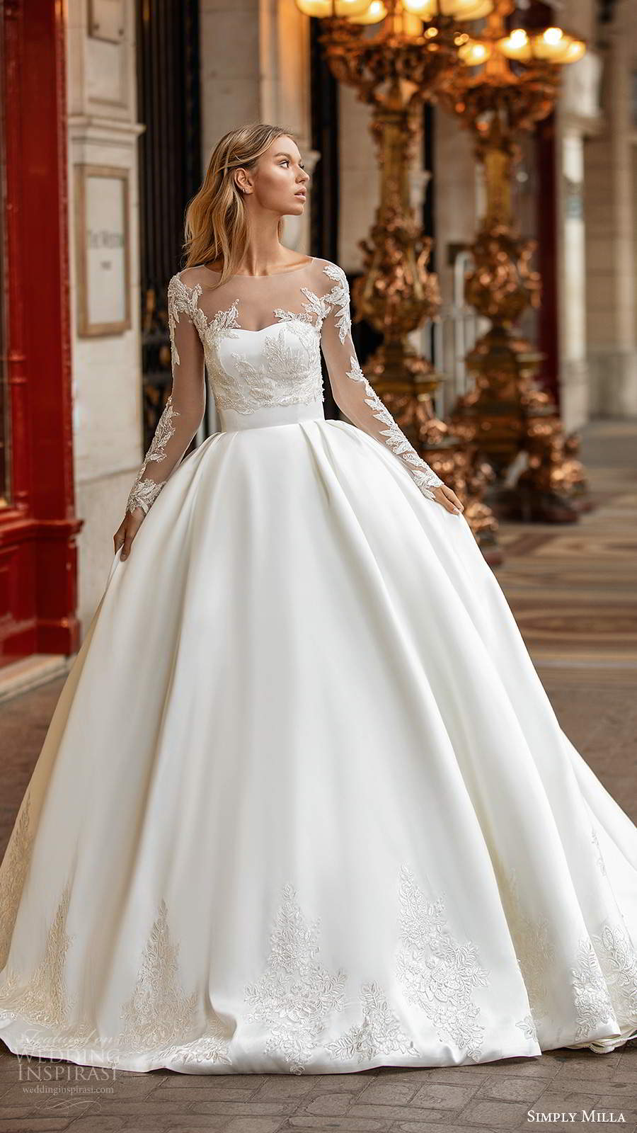 simply milla nova 2020 bridal illusion sleeves top strapless semi sweetheart clean minimal a line ball gown wedding dress chapel train (2) fv