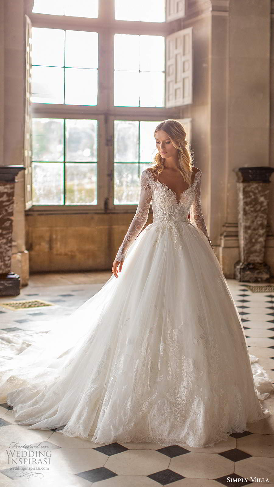 simply milla nova 2020 bridal long sleeves off shoulder sweetheart neckline embellished bodice a line ball gown wedding dress chapel train (7) mv
