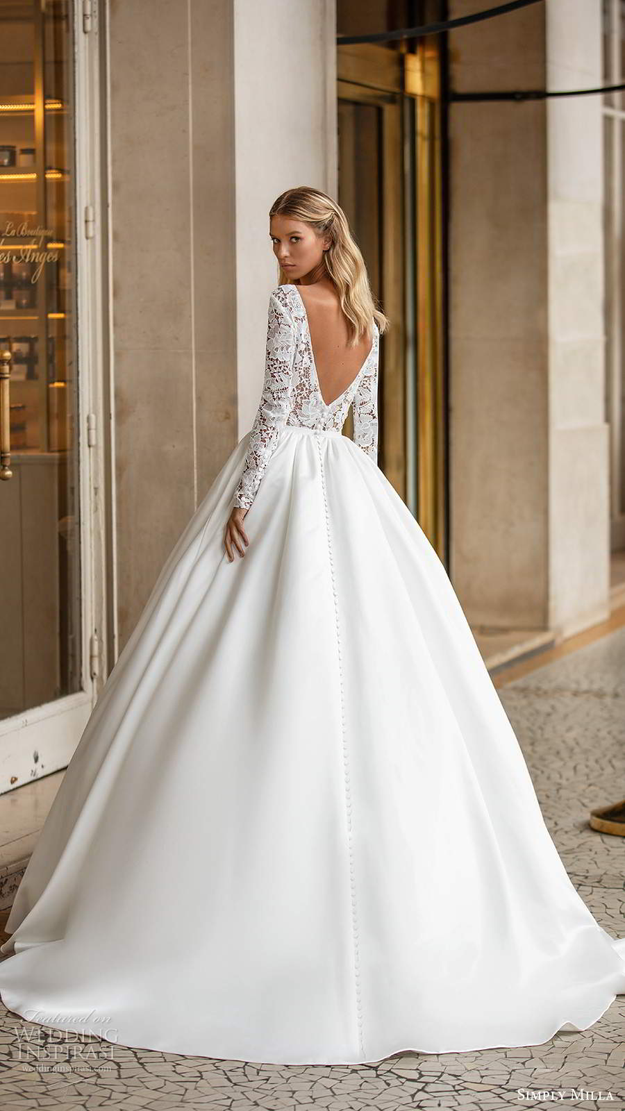 simply milla nova 2020 bridal long sleeves plunging neckline embellished lace bodice clean skirt a line ball gown wedding dress chapel train (5) bv