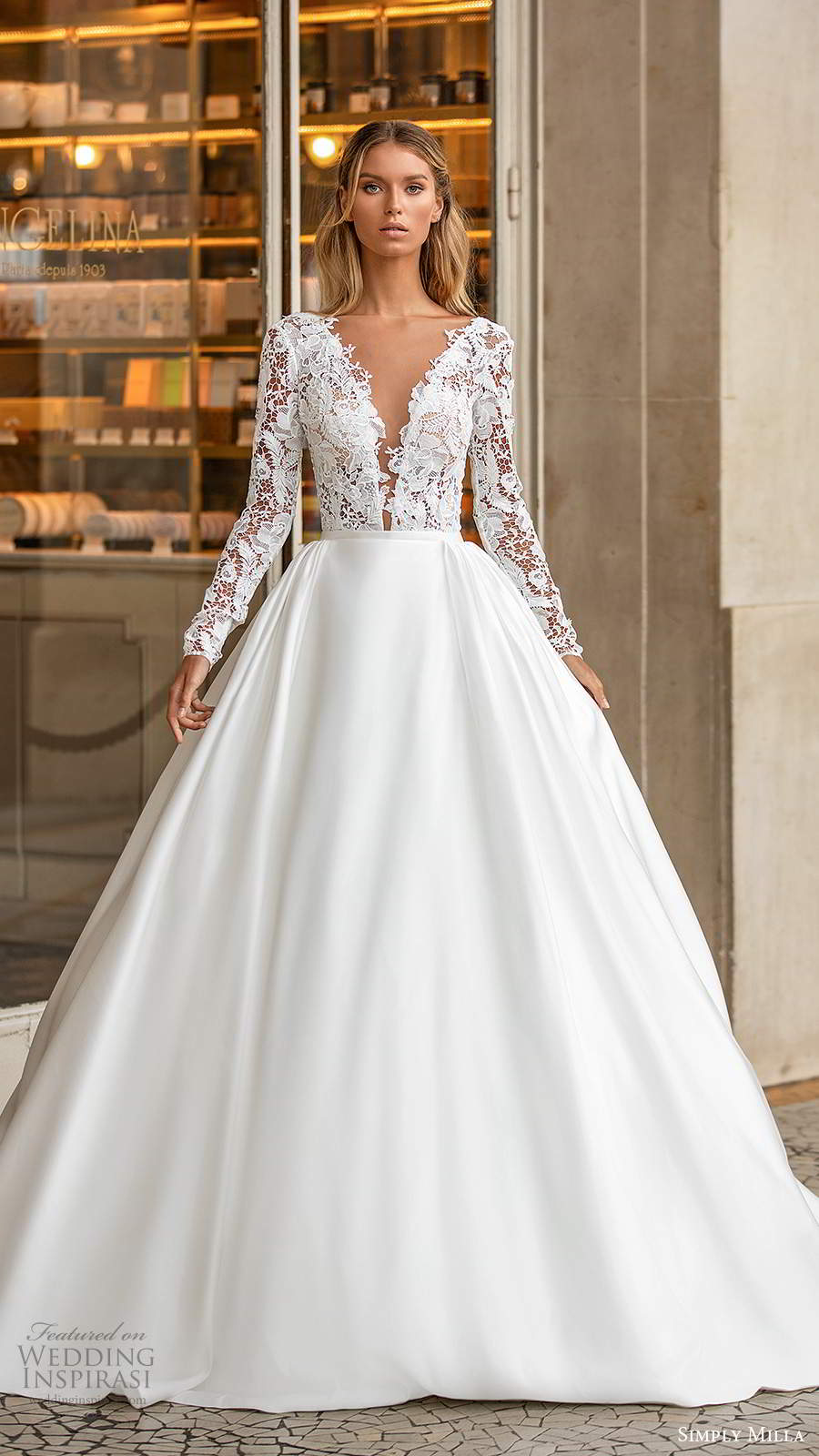 simply milla nova 2020 bridal long sleeves plunging neckline embellished lace bodice clean skirt a line ball gown wedding dress chapel train (5) mv