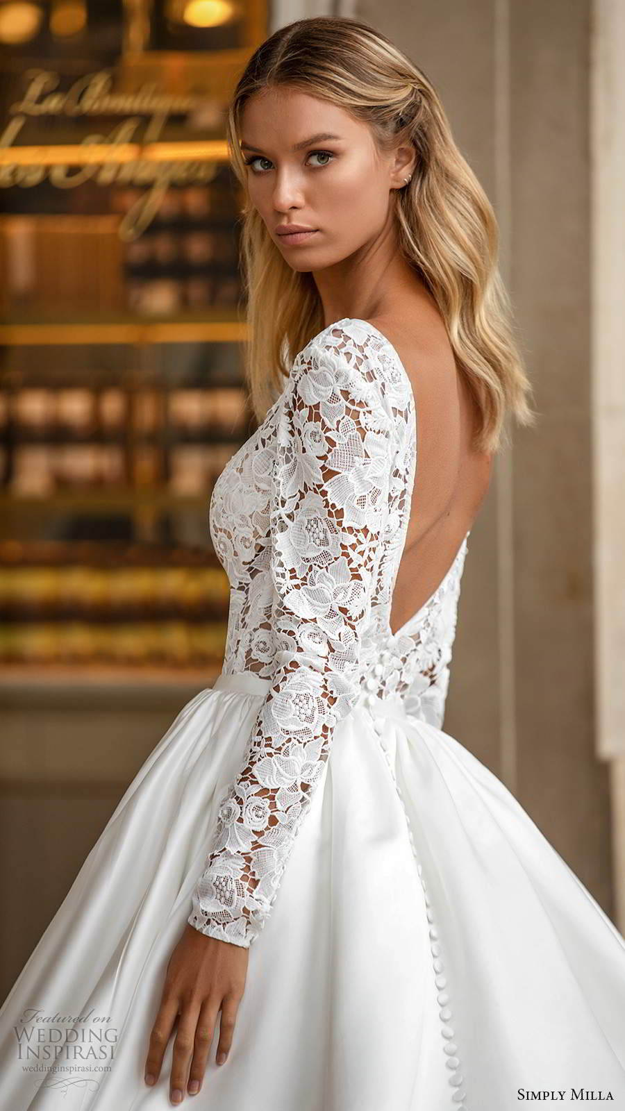 simply milla nova 2020 bridal long sleeves plunging neckline embellished lace bodice clean skirt a line ball gown wedding dress chapel train (5) zbv