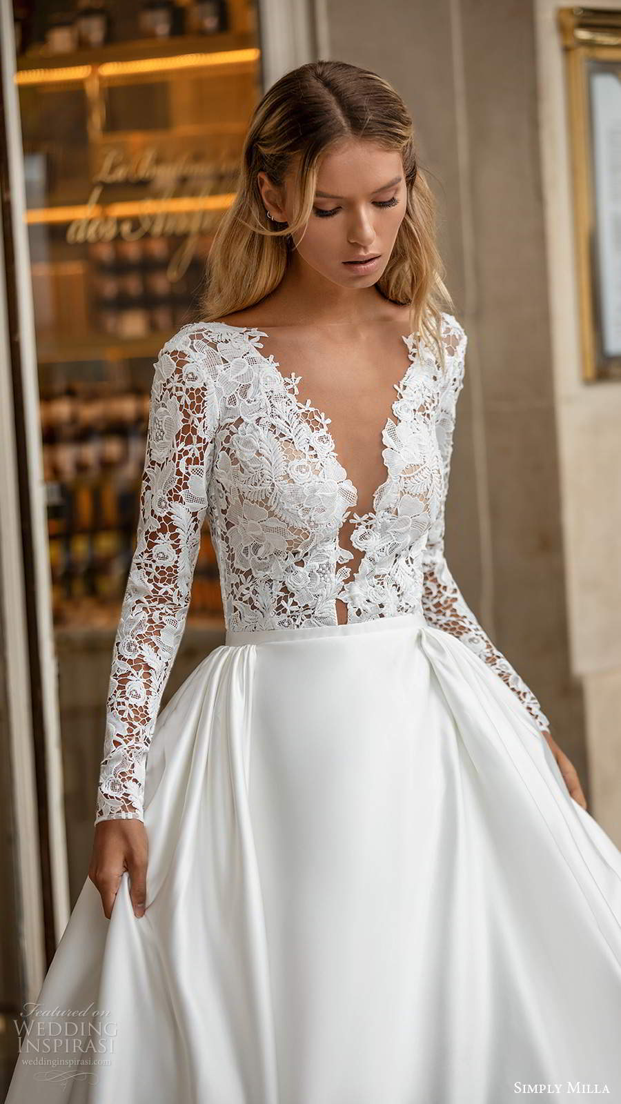 simply milla nova 2020 bridal long sleeves plunging neckline embellished lace bodice clean skirt a line ball gown wedding dress chapel train (5) zv