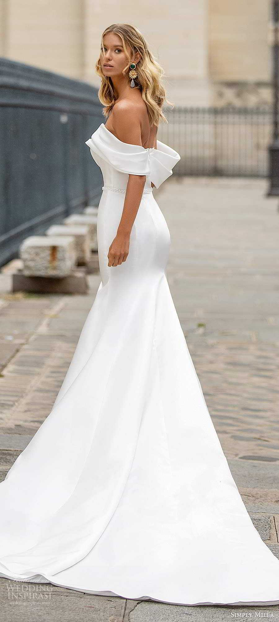 simply milla nova 2020 bridal off shoulder straps straight across foldover neckline clean minimally embellished fit flare mermaid wedding dress chapel train (17) bv