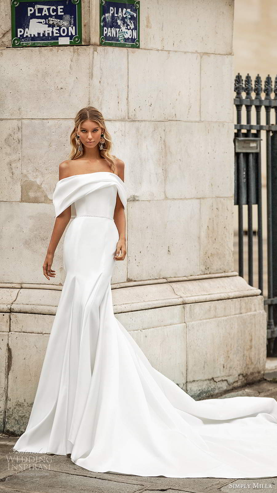 simply milla nova 2020 bridal off shoulder straps straight across foldover neckline clean minimally embellished fit flare mermaid wedding dress chapel train (17) mv