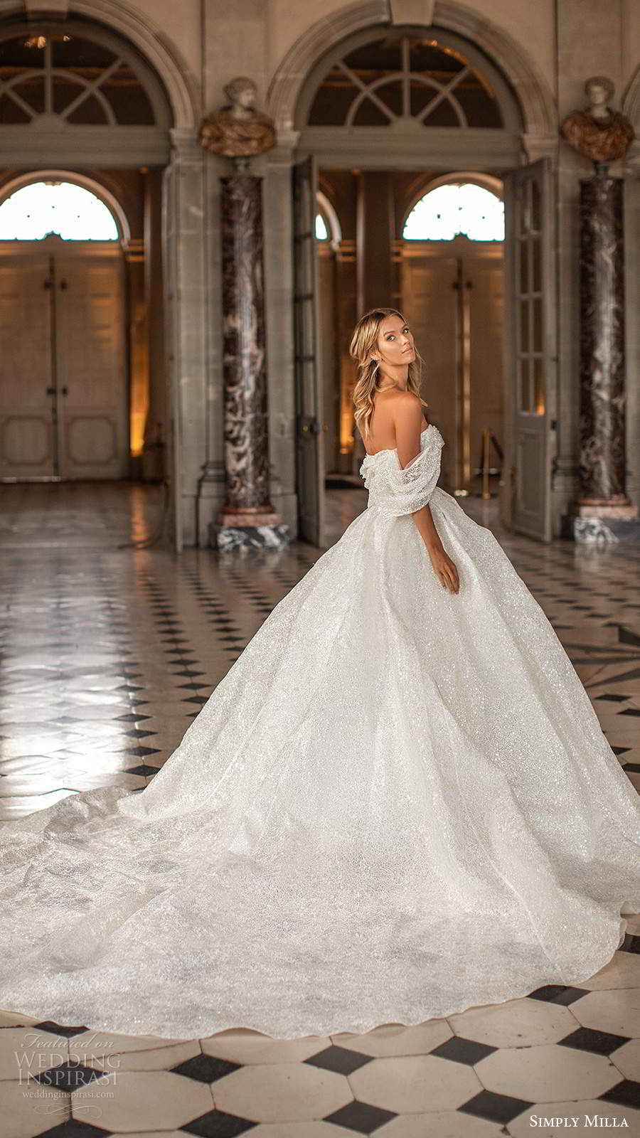 simply milla nova 2020 bridal off shoulder straps sweetheart neckline fully embellished a line ball gown glitzy wedding dress chapel train (10) bv