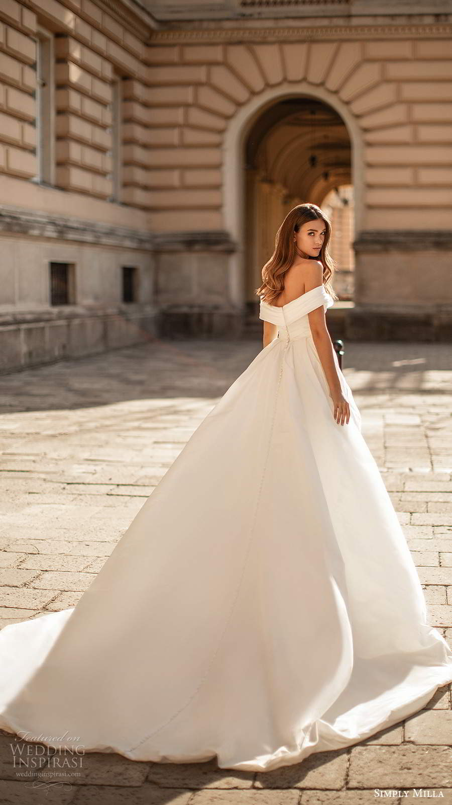 simply milla nova 2020 bridal off shoulder straps sweetheart neckline pleated bodice clean minimalist a line ball gown wedding dress chapel train (8) bv