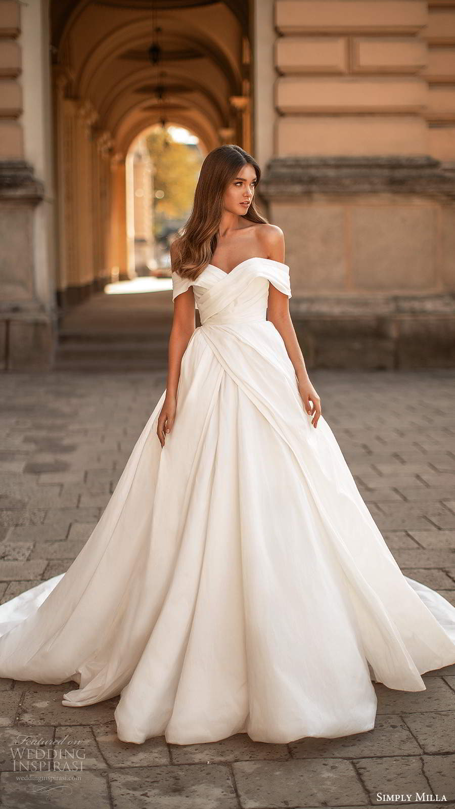 simply milla nova 2020 bridal off shoulder straps sweetheart neckline pleated bodice clean minimalist a line ball gown wedding dress chapel train (8) mv