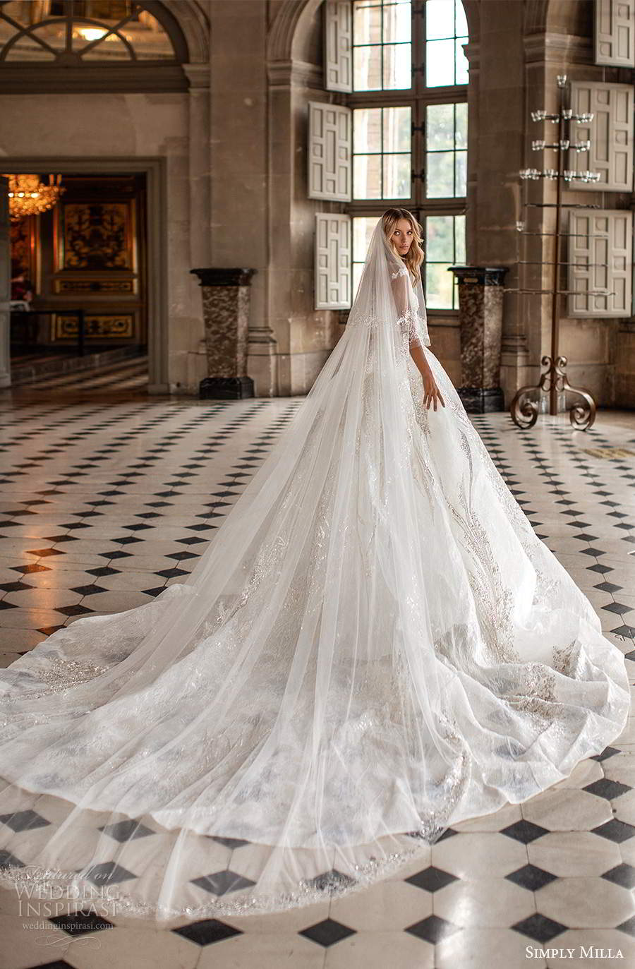 simply milla nova 2020 bridal sheer cap sleeves bateau neckline heavily embellished a line ball gown wedding dress cathedral train (13) bv