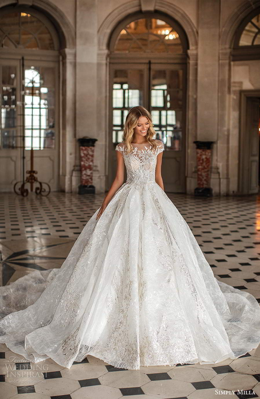 simply milla nova 2020 bridal sheer cap sleeves bateau neckline heavily embellished a line ball gown wedding dress cathedral train (13) mv