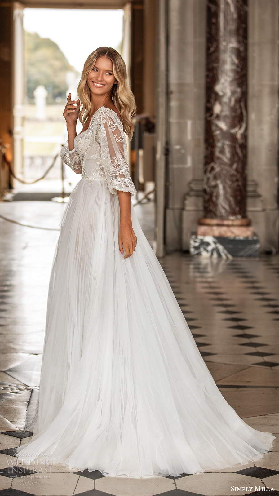 simply milla nova 2020 bridal sheer half balloon sleeves sweetheart neckline embellished bodice aline ball gown boho wedding dress sweep train (9) bv