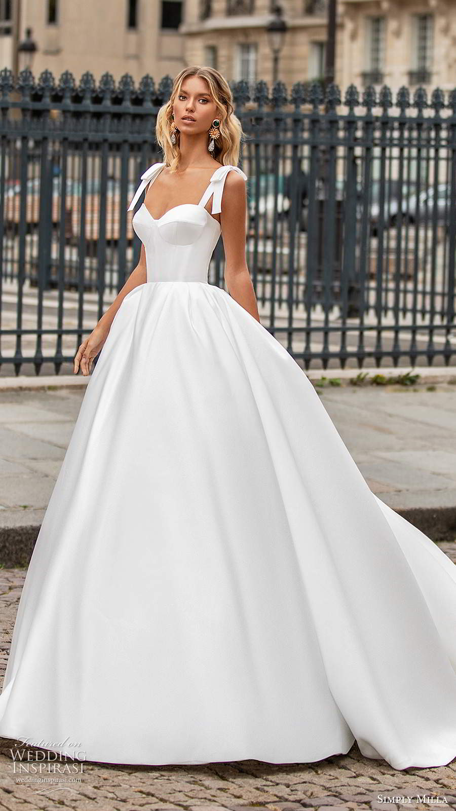 simply milla nova 2020 bridal sleeveless bow straps sweetheart neckline clean minimalist a line ball gown wedding dress chapel train (4) mv